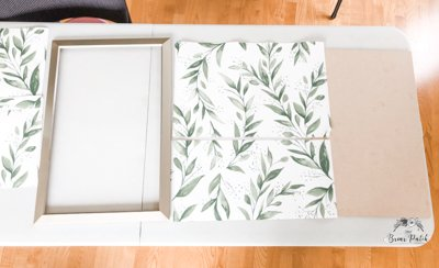Joanna gaines magnolia home wallpaper on a repurposed picture frame