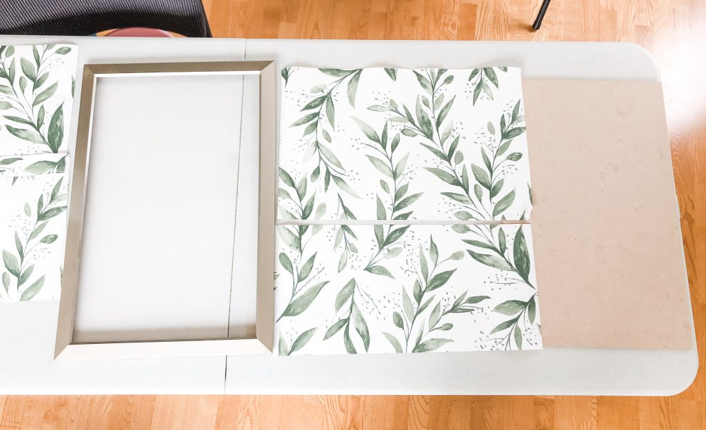 Using leftover pieces of Magnolia Home Olive Branch wallpaper by Joanna Gaines for a backdrop in this DIY Cricut Tool Organizer Frame project