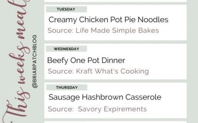 Family Friendly Weekly Meal Plan Idea's